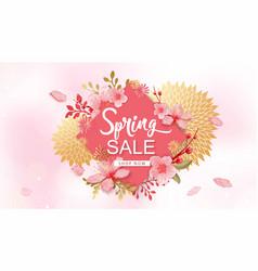 spring sale banner with vector image