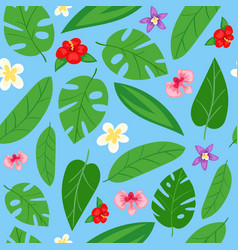 summer leafy seamless pattern design spring vector image