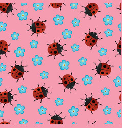 Summer seamless pattern with ladybirds vector