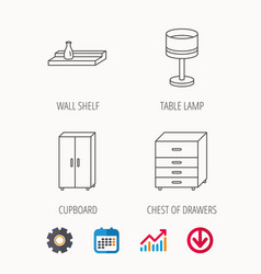 Table lamp cupboard and wall shelf icons vector