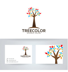 tree color logo design vector image