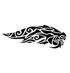 tribal tattoo art with stylized black dragon head vector image