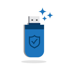 usb flash drive with shield data protection vector image