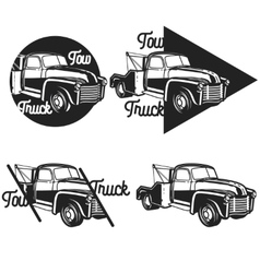 Vintage car tow truck emblems vector