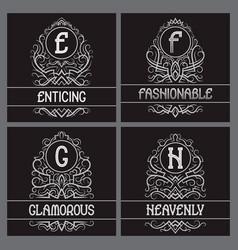 vintage monograms set for label design e f g h vector image