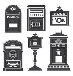 vintage street mail posts and letterboxes vector image