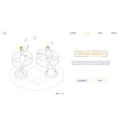 virtual reality - line design style isometric web vector image