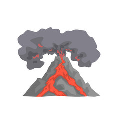 Volcanic eruption lava flowing down the mountain vector