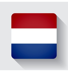 Web button with flag of netherlands vector