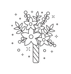 Wedding bridal bouquet icon in line art vector