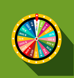Wheel of fortune with jackpot flat design symbol vector