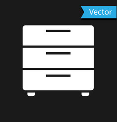 white furniture nightstand icon isolated on black vector image