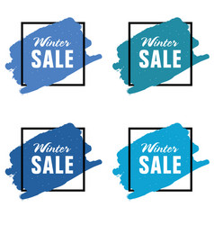 Winter sale icon in blue color set vector