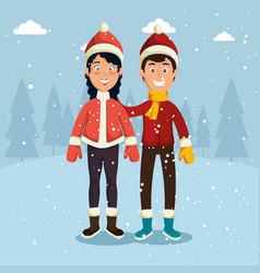 Winter sports happy people cartoon vector