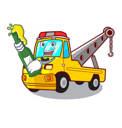 With beer tow truck for vehicle branding character vector