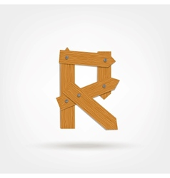 Wooden Boards Letter R vector image