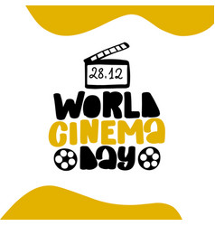 World cinema day december 28 neon vector