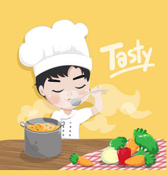 young chef is tasting vector image
