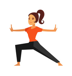 Young female person doing karate exercise isolated vector