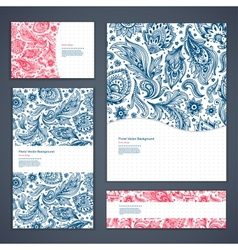 Beautiful floral set of banners vector image
