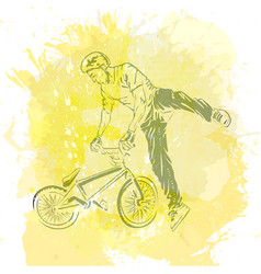 bike rider jumping vector image