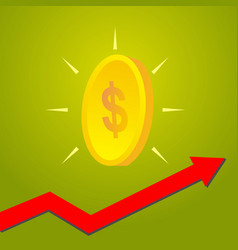 coin with graph arrow up growth of financial and vector image
