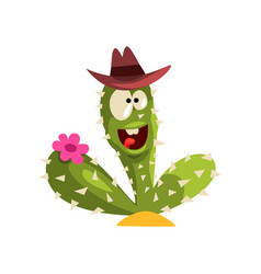 creen cactus character with hat and flower vector image vector image
