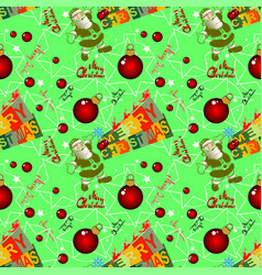 seamless christmas background with santa claus vector image
