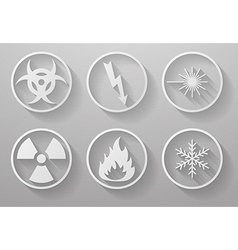 Set of paper warning signs with a long shadow vector image vector image