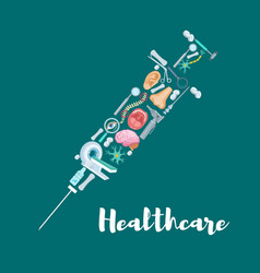 syringe with medical icons for medicine design vector image vector image
