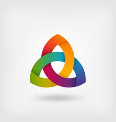 triquetra symbol in rainbow colors vector image