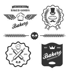 bakery bread vintage retro badges labels set vector image