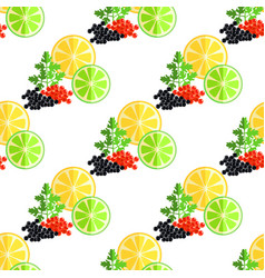 Citrus fruits green parsley and caviar pattern vector