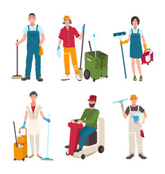 different janitor set people with cleaning vector image