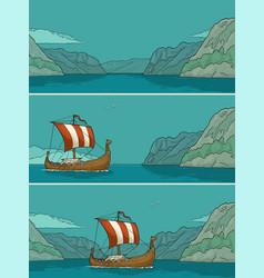 drakkar floating on the fjord in norway vintage vector image vector image