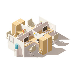 isometric low poly office cubicle vector image