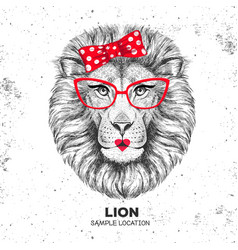 retro hipster animal lion hand drawing muzzle vector image vector image