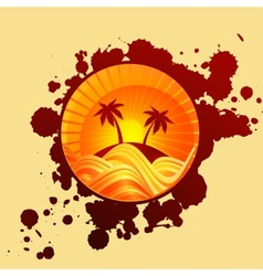 Round summer background of palms and sea in sunset vector image