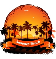 Summer holidays tropical sunset background vector image