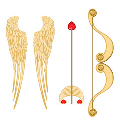 angel wings retro cupid bow and arrow with heart vector image vector image