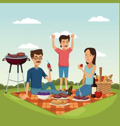 color scene landscape of picnic basket with foods vector image