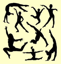 Gymnastic people sport activity silhouette vector