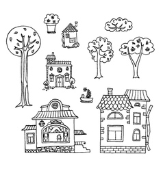 Hand-drawn house and tree doodles collection vector image