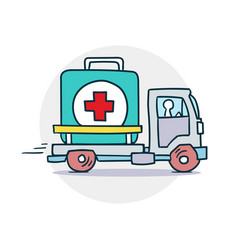 delivery of medical aid icon vector image