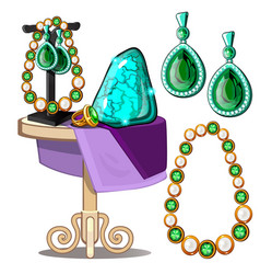 jewels of emeralds and pearls presentation vector image