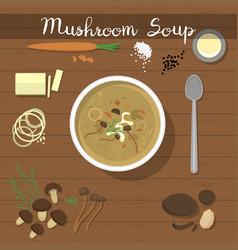 mushroom soup food vegetarian creamsoup vector image vector image