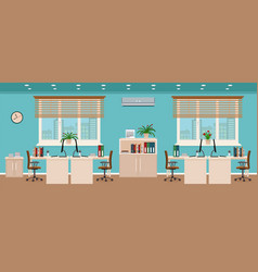 Office room interior including four workspaces vector