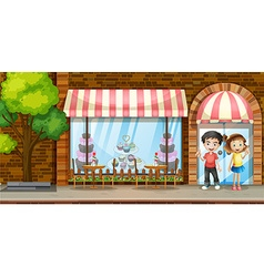 People hanging out at the bakery shop vector image vector image