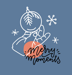 a small child hand holding decoration christmas vector image