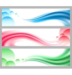 Abstract smooth wavy headers or banners set vector